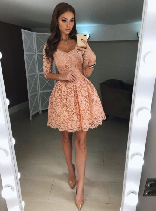 Newest A-Line Half Sleeves Short Lace Homecoming Dress