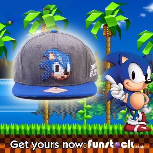 """This Sonic baseball cap has a cool pixel graphic on the front and a high-quality design throughout. It's perfect for any Sonic fans or gamers in your life!  http://www.funstock.co.uk/sega-sonic-hedgehog-2d-pixelated-head-snapback-baseball-cap-greyblue  Use code """"PINFUN"""" for 5% off!  #sonic #retrogaming #gaming #gamergifts #giftideas #xmas #christmas #gamingmerchandise"""