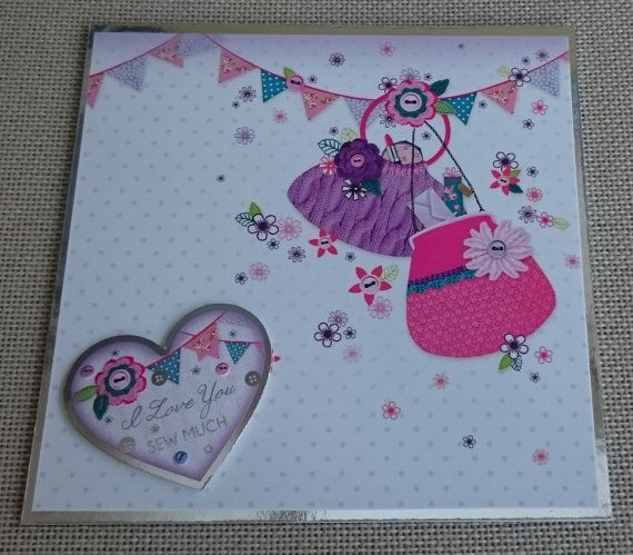 Handmade 6 x 6 Square Greeting Card  I Love You Sew by BavsCrafts
