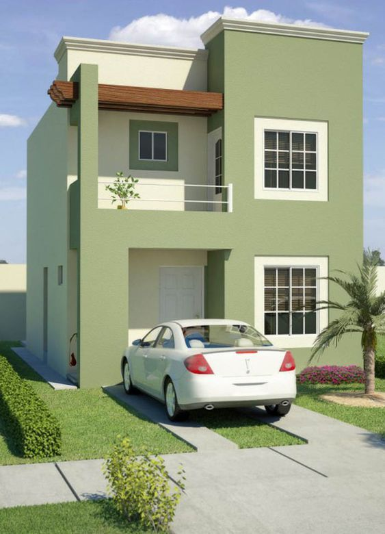 Exteriores color verde oliva colores para fachadas 2018 for Decoracion de exteriores de casas pequenas