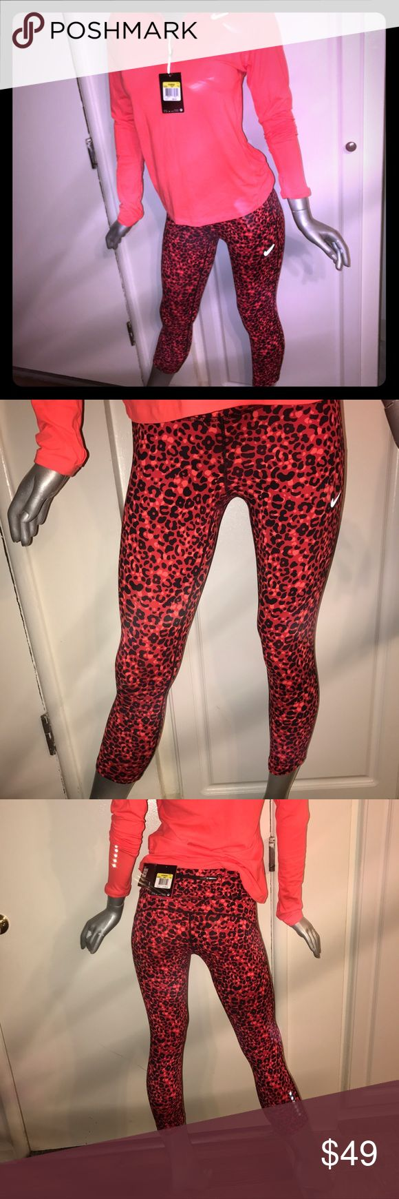 New Nike leopard tight capris Red and black leopard Nike workout tights, new with tags size small. Love them fit comfy but I have too many clothes. Nike Pants Capris