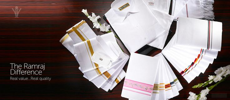 Traditional representation of our end products, including ram raj cotton dhoti, cotton mens white shirts .  For more online purchasing -  http://www.ramrajcotton.in