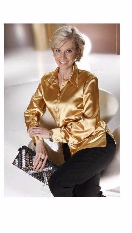 Marken BLUSE AUS SATIN GOLD GR. 42 10166398560 | Kleidung & Accessoires, Damenmode, Blusen, Tops & Shirts | eBay!