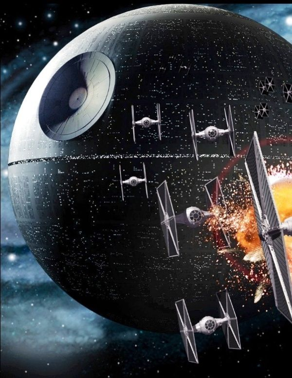 Tie fighter squadron patrolling the Death Star.