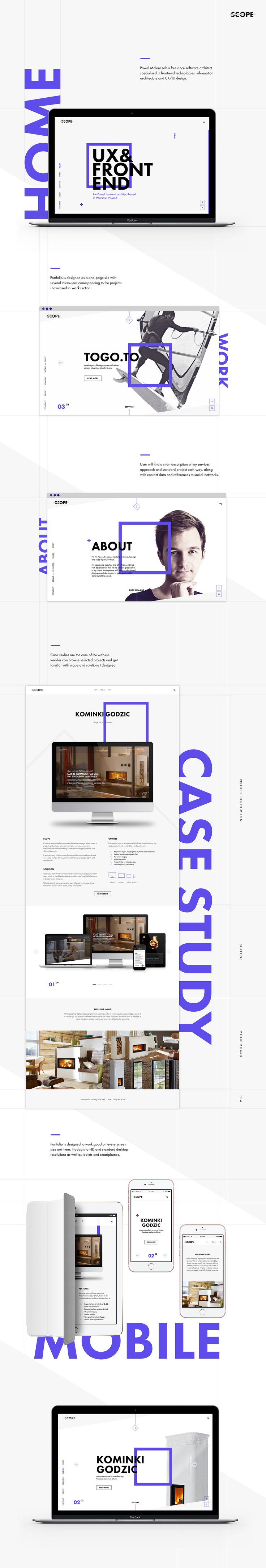 Project Scope portfolio re-design. One-page website with microsites presenting case studies.