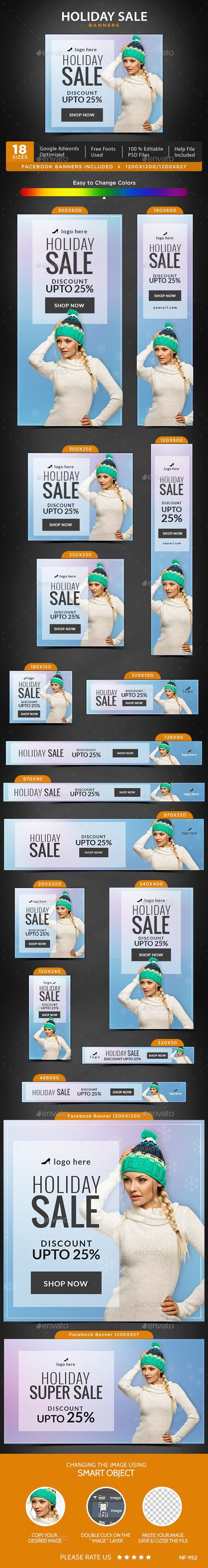 Holiday Sale Web Banners Template PSD #ad #design Download: http://graphicriver.net/item/holiday-sale-banners/14237979?ref=ksioks