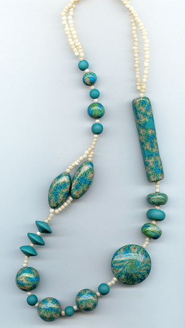 Asymetrical Necklace by MargitB., via Flickr These are p.c. but I like the idea of real turquoise and pearls....