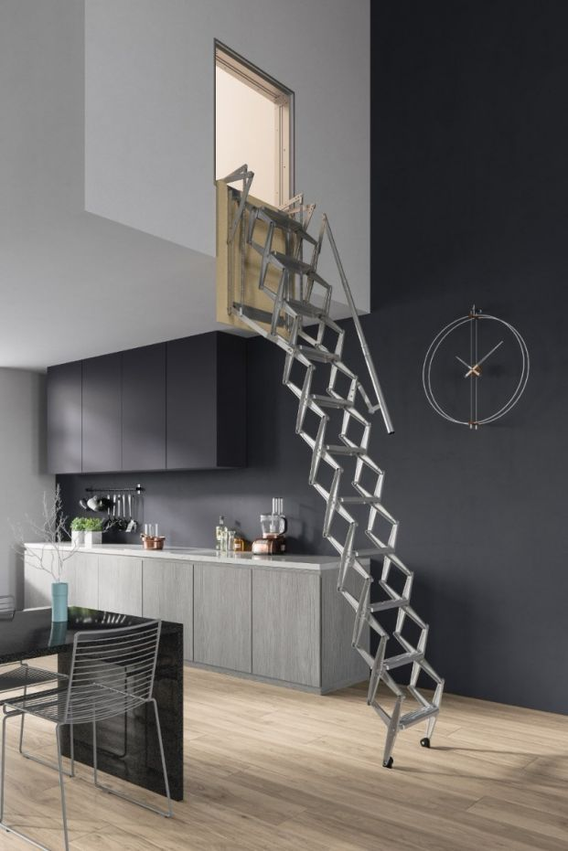 Perfect Premio Vertical Wall Steel Concertina Loft Ladder | Loft Centre