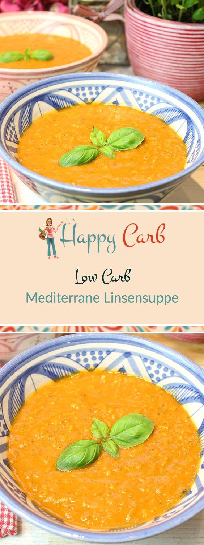Yummie! Linsen in Kombination mit Tomate und Basilikum.  Low Carb Rezepte von Happy Carb. https://happycarb.de/rezepte/suppen-eintoepfe/mediterrane-linsensuppe/
