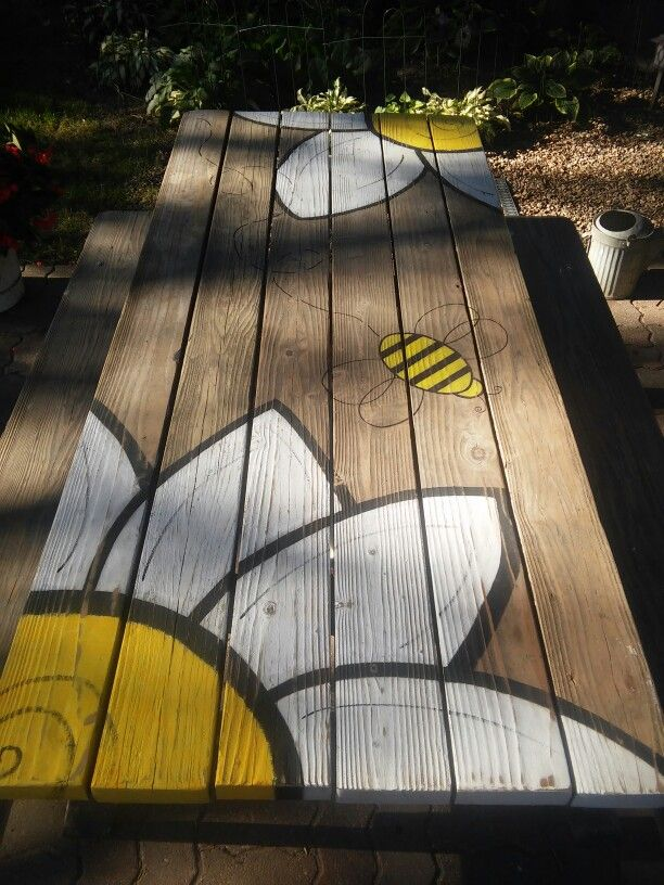 Painted picnic table …