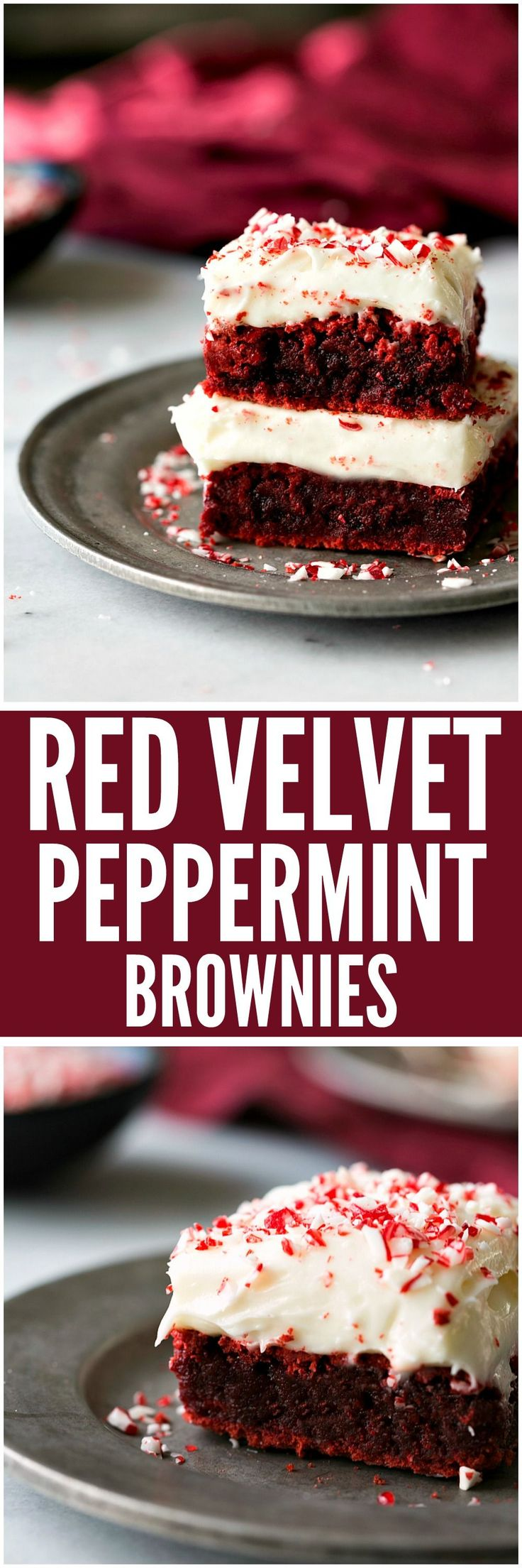 Red Velvet Peppermint Brownies with Peppermint Cream Cheese Frosting are the perfect holiday brownie! A rich and chewy vibrant red peppermint brownie piled high with peppermint cream cheese frosting.