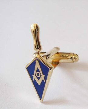 Free Mason Cufflink Trowel with Blue Square and Compass - Free Masonic Ring Cuff Links - Masonic Jewelry Free Masonic Ring - FreeMasonicRing.com