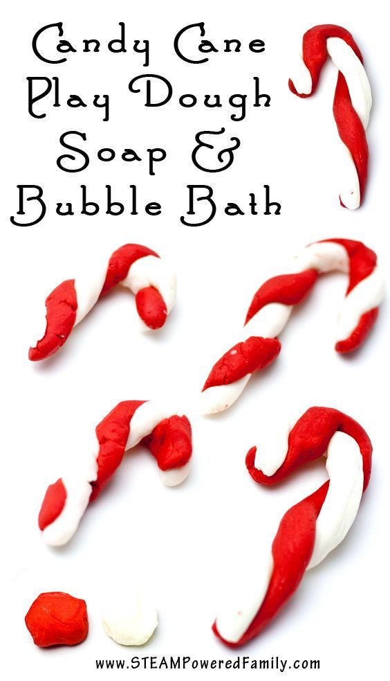 Super Simple, Only 3 Ingredients! Candy Cane Play Dough Soap and Bubble Bath are easy to make, are fun to use and make fantastic gifts.