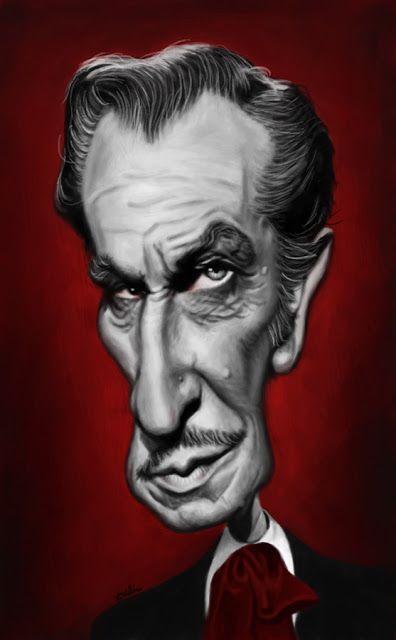 El actor Vincent Price, famosos por sus interpretaciones en películas de terror, caricaturizado por...