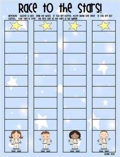Sight Word Game: Draw a card. If student reads it correctly, he/she moves the marker one space towards the his/her star. The student to reach the star first, wins.