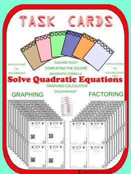 Task Cards - Solving Quadratic Equations (Optional QR) - 5