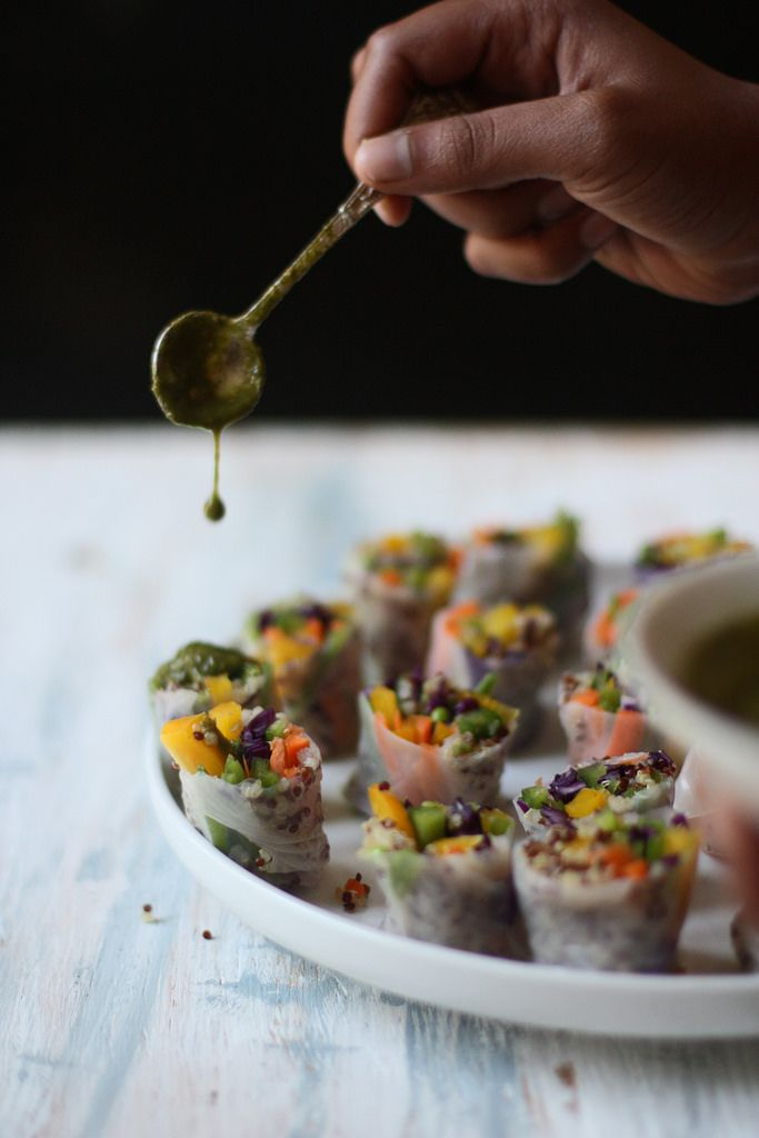 Vegetable-Quinoa Rolls with Sweet and Spicy Green Chutney Plant-based, vegan, vegetarian, and gluten-free recipes