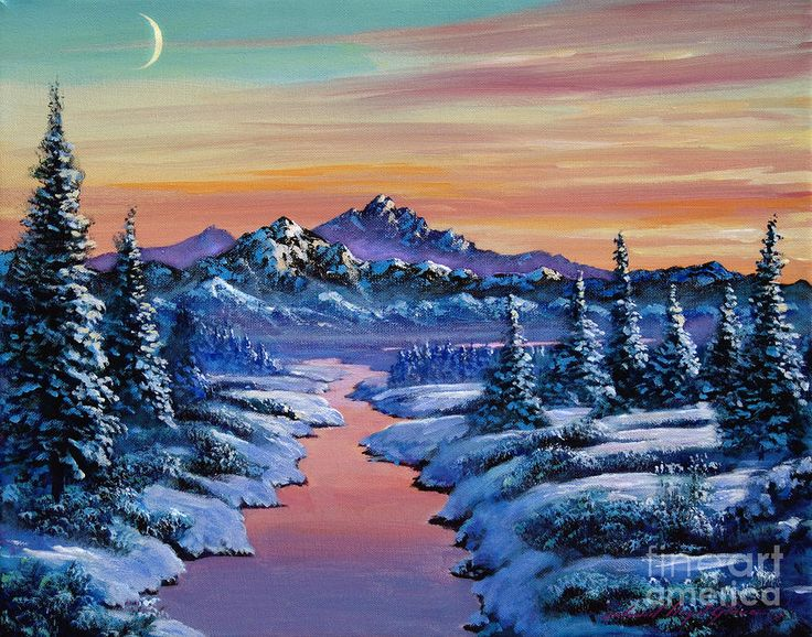 Snowy Creek Winter Scenery Mountain Paintings And Art