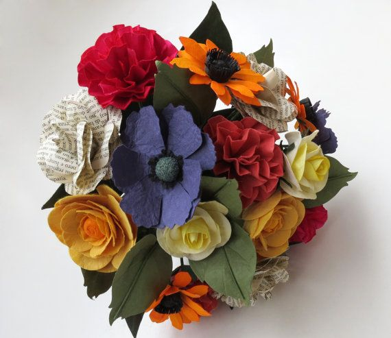 Mixed Flowers Wedding Paper Bouquet in Multicolor by CeeBeeRecycle