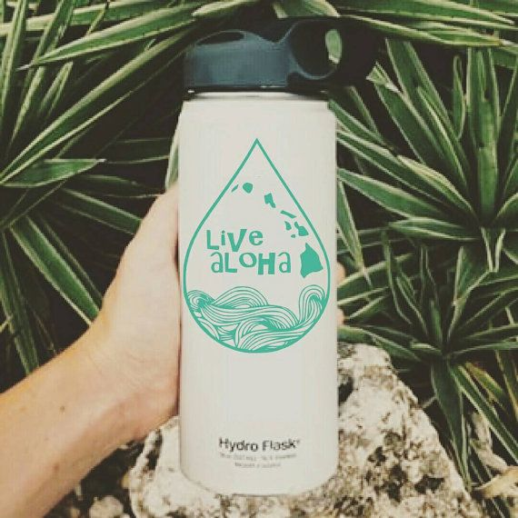 Live Aloha Raindrop Hydro flask stickers for your hydroflask pineapple mermaid tail stickers personalized sticker Handmade in Kailua Hawaii