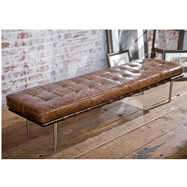 Vintage Tobacco Leather Bench Vanillawood Benches