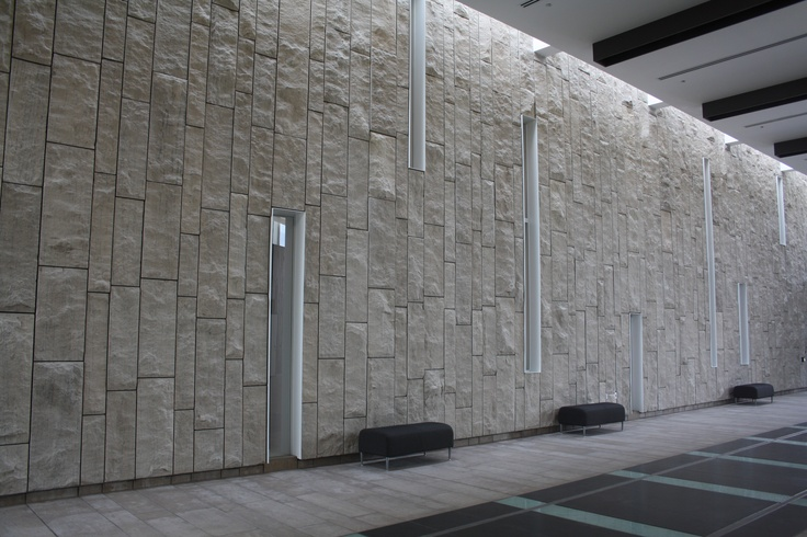 Waterloo Regional Art Museum located in Kitchener, Ontario uses Sepia Adair limestone in a split face finish on the wall in various panel sizes while the flooring application is Adair limestone in a medium dressed tile finish.  Architect Moriyama & Teshima Architects with The Walter Fedy Partnership.  Visit www.arriscraft.com for more info.
