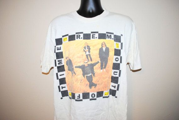 1991 R.E.M. Out OF Time Rare Vintage Classic 90's College Radio Alternative Rock Band Concert Tour Album Promo T-Shirt