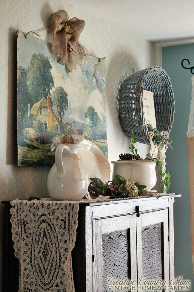 Creative Country Mom's: The New/Old Blue Basket - Fresh Country Decorating Ideas