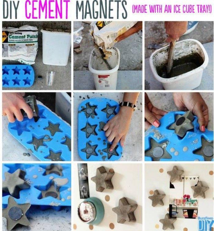 CEMENT MAGNETEN Benodigdheden: een siliconen ice cube lade, magneten, concrete mix, een emmer of container te mengen de beton.