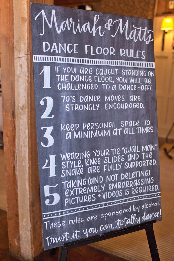 Dance Floor Rules Chalkboard Sign: