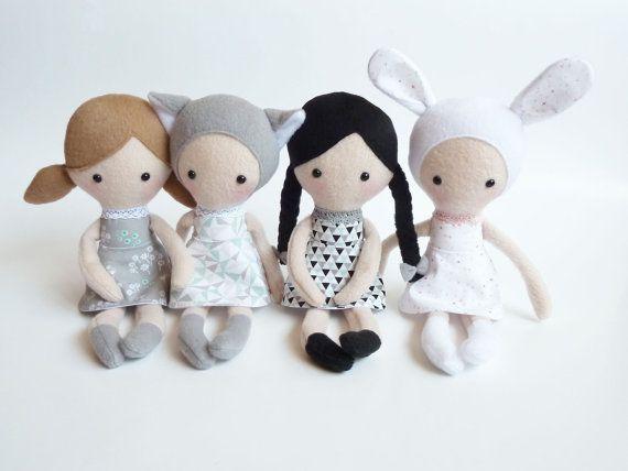 Plush doll Rag doll Stuffed toy Cloth doll by CreepyandCute