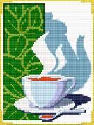 free cross stitch pattern in pdf format with breakfast coffee