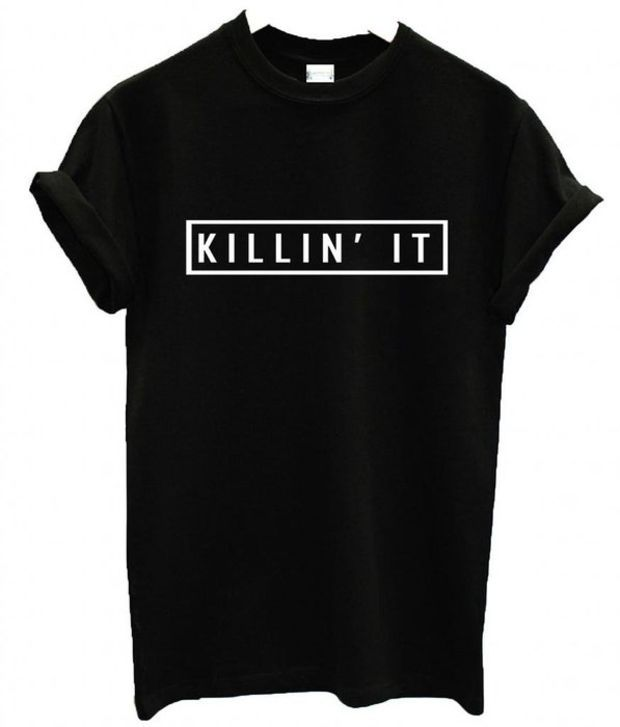 Tsh-Us Women's Killin' It T-Shirt Dope Swag Hype Top Medium Black
