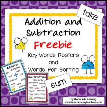 Addition and subtraction, Addition chart and Keys on Pinterest