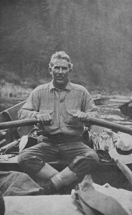 In 1925, Zane Grey commissioned three dories for a fishing expedition down the lower Rogue River. Grey loved the Oregon wilderness so much that he purchased land on the river's banks, built a cabin, and wrote a book there, Rogue River Feud, published in 1929.  Slide show of 13 photos. Zane Grey rowing one of the three dories that he had made for his 1925 trip down the lower Rogue.