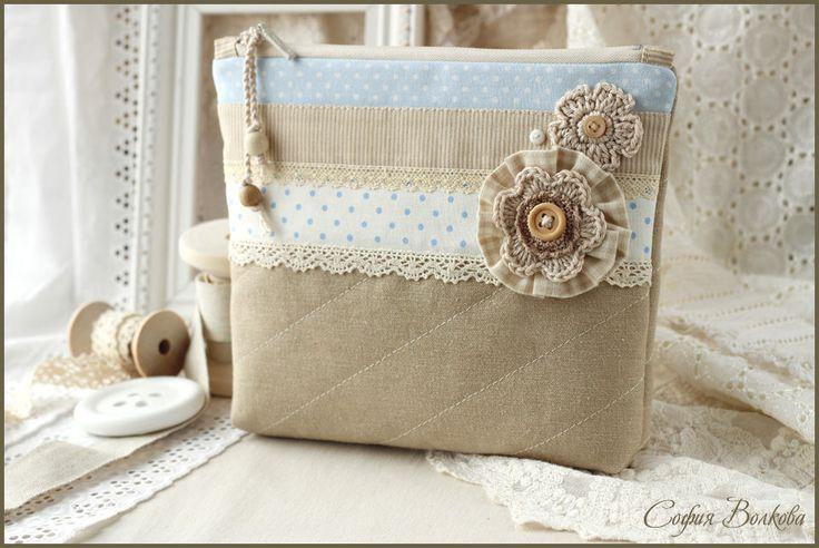 """Comprar Broche """"nubes"""" - broche de tela broche textil con bordado, la crema, la…"""