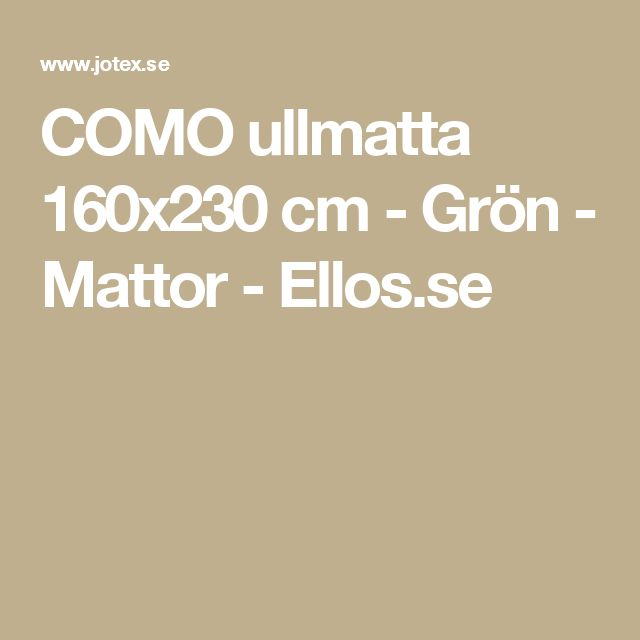 COMO ullmatta 160x230 cm - Grön - Mattor - Ellos.se