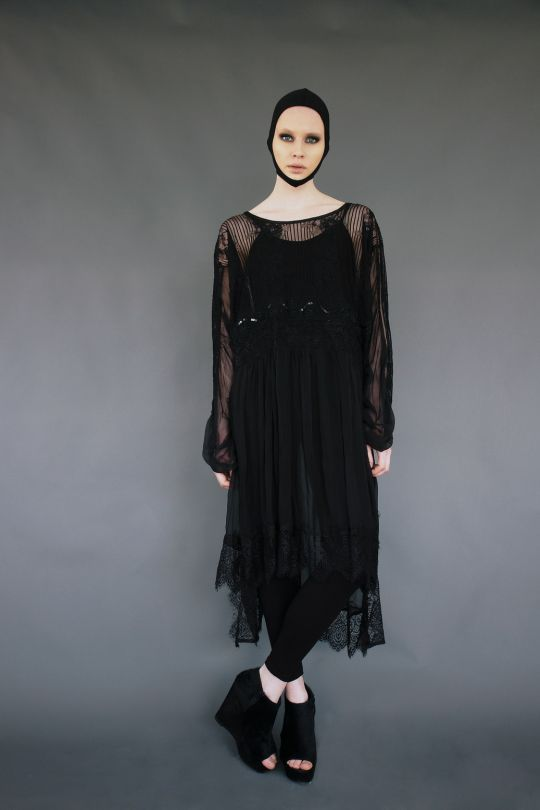 Transparent silk dress with lace www.maurizio.gr