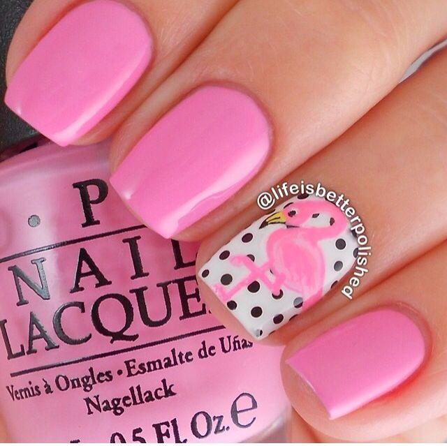 Pink flamingo nails