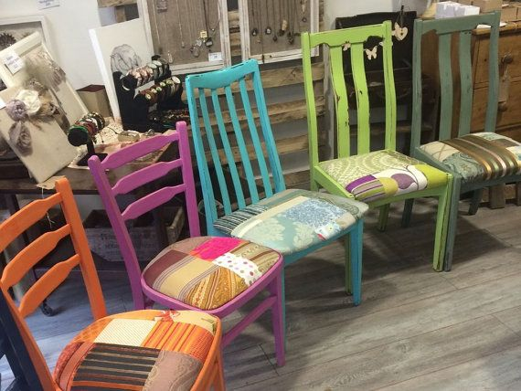 Bright Painted Colourful Patchwork Chairs, Multicoloured Patchwork Dining Chairs, Purples, Single, Set of Six---ETSY