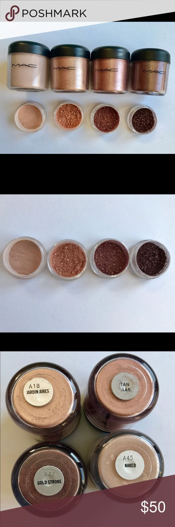 Super Rare MAC Pigment Sample Set (1/4 teaspoon) This MAC Pigment sample set includes 1/4 teaspoon of each of the following pigments: Naked, Jardin Aires, Tan, and Gold Stroke! This is a perfect way to try out Authentic MAC Pigments without spending a fortune on them. These Pigments are perfect for any occasion! Get them while they last! SHIPS THE NEXT DAY! Pigments come in 3g BPA Free jars! MAC Cosmetics Makeup Eyeshadow