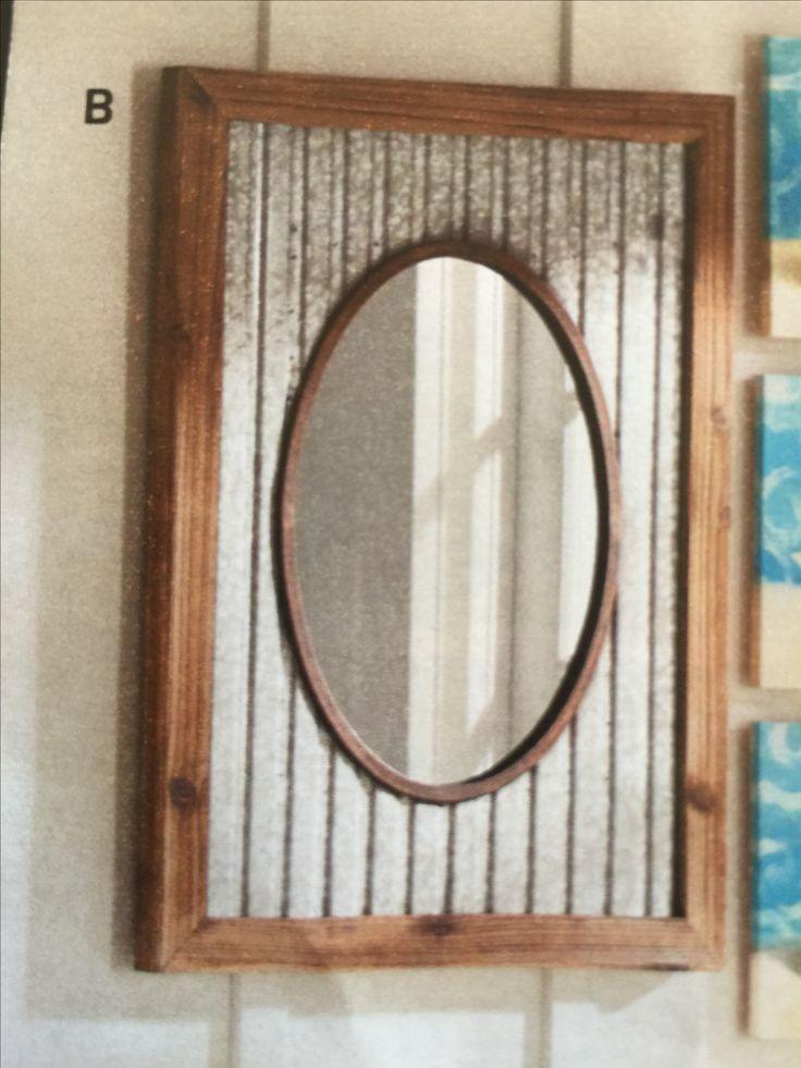 Corrugated metal rustic mirror