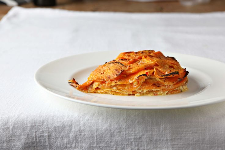 Sweet potato and peanut gratin - although sweet potatoes are not much grown in the UK, I do enjoy them every now and then. They're extremely good for you and they make a tempting gratin.