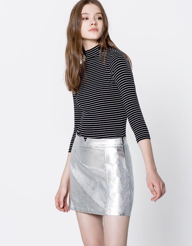 Pull&Bear - ženy - oděvy - trička - striped high neck bodysuit - black - 09239321-V2017