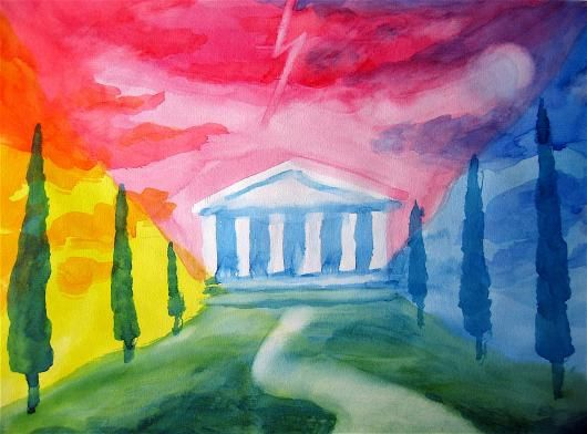 Waldorf ~ 5th grade ~ Ancient Greece ~ Mount Olympus ~ watercolor painting