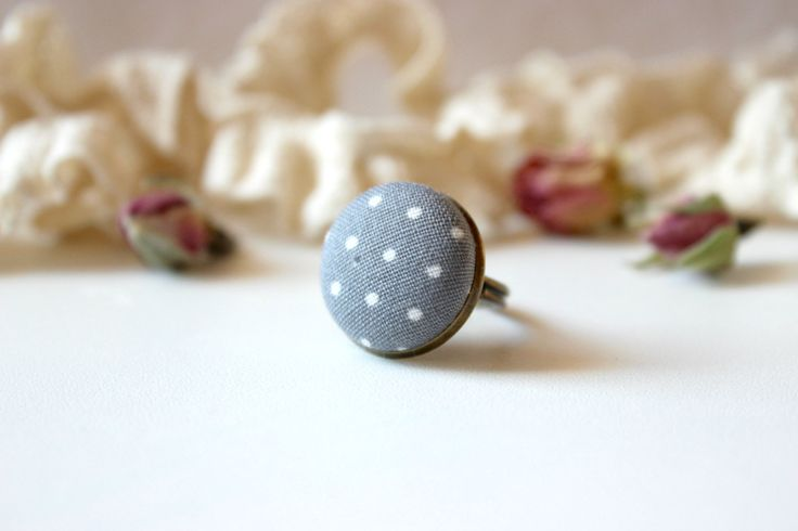 Grey Polka Dot Ring, Grey Fabric Ring, Fabric Button Ring, Retro Simple Ring, Antique Bronze Ring, Grey White Ring, Grey Button Ring by EfZinCreations on Etsy
