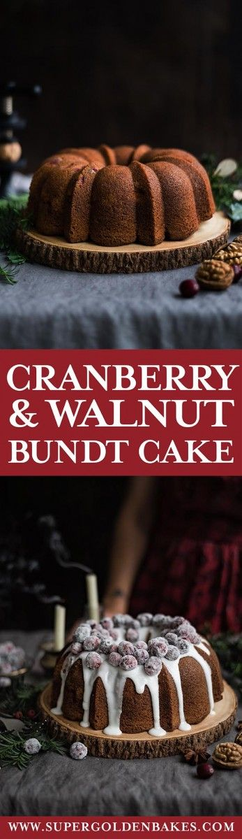 This cranberry and walnut bundt cake with its crown of frosted cranberries makes a great festive centrepiece and is large enough to feed a crowd. It also keeps fresh for several days, so a good cake to have on hand during the holiday season #Christmasbaking #bundtcake #cranberries