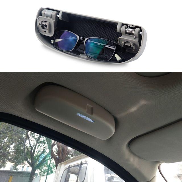 Car Sun Visor Glasses Case Clip Sunglasses Storage Holder Box Apply to All Car Models Clear