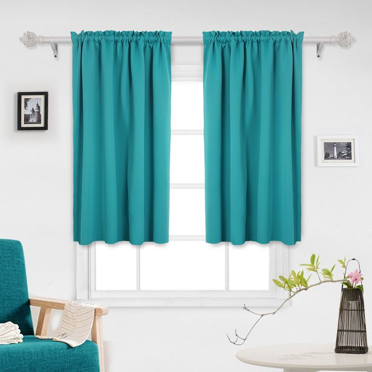 Deconovo Teal Blackout Curtains 2 Panels Sun Blocking Curtains Blackout Window Cover for Small Windows 42W x 45L Inch Aqual Blue/Teal 1 Pair