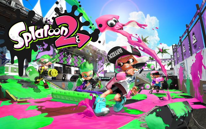 Download wallpapers 4k, Splantoon 2, 2017 games, Nintendo, shooter
